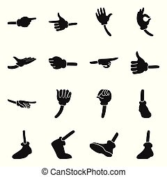 Comic gesture hand vector black icon set. Vector isolated illustration wrist gesture in glove. Icon set of foot and hand comic.