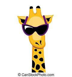 Comic giraffe face with sunglasses