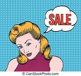 Comic girl with sale text bubble - Beautiful girl with sale...