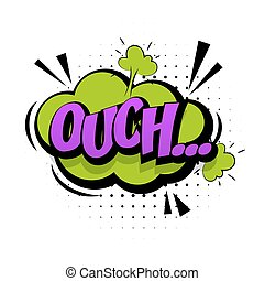 Comic green sound effects pop art Lettering Ouch