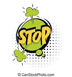 Comic green sound effects pop art word Stop
