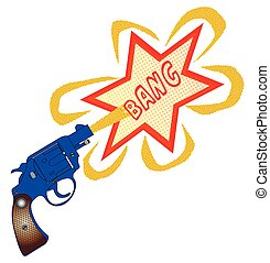 Comic Gun Bang - A snub nose handgun with bang text,...