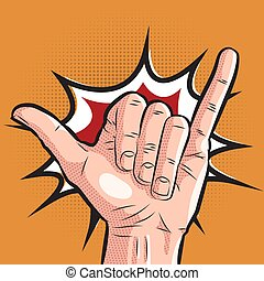 comic hand showing shaka sign. pop art surf greeting gesture...