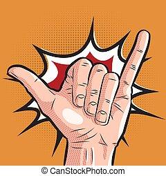 comic hand showing shaka sign. pop art surf greeting gesture...