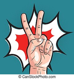 comic hand showing victory gesture. pop art peace sign on halftone background
