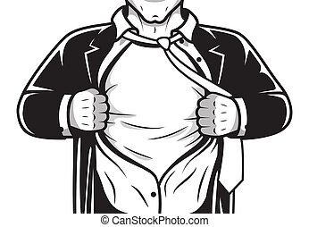 Comic hero opening shirt - Black and white comic male super...