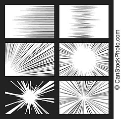 Comic horizontal and radial speed lines vector set. Ray and...