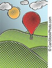 comic hot air balloon