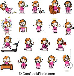 Comic Housewife - Set of Concepts Vector illustrations