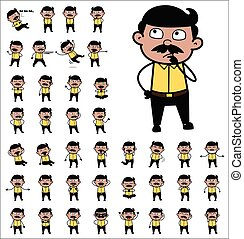 Comic Indian Man Poses - Set of Various Concepts Vector illustrations