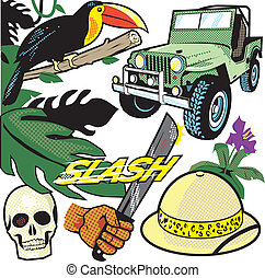Comic Jungle - Clip art collection in a comic book style...