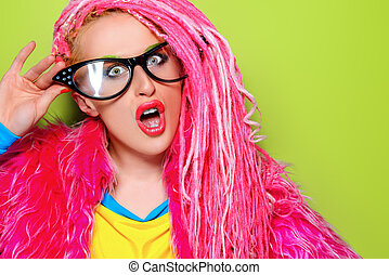 comic lady - Modern pin-up girl in bright clothes and pink...
