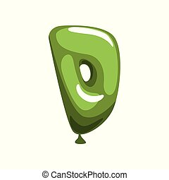 Comic letter D in form of bright green balloon. Funny kids education. Cartoon alphabet font. Isolated flat vector design for greeting card, promo poster or flyer