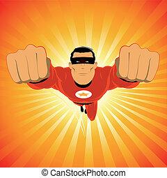 Illustration of a comic super-hero, fame celebrity flying in the sky