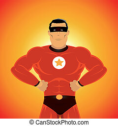 Comic-like Super-Hero - Illustration of a comic super-hero,...