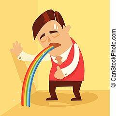 Comic man character pukes rainbow. Vector flat cartoon illustration