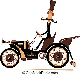 Comic man in the top hat drives a retro car illustration