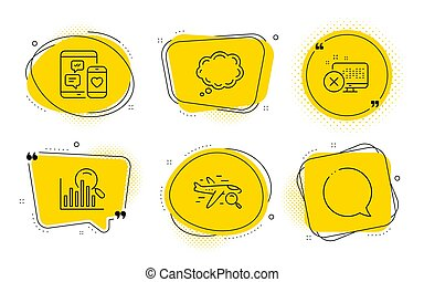 Comic message, Social media and Search icons set. Reject access, Search flight and Speech bubble signs. Vector