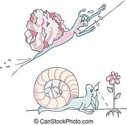 Comic metaphoric snails - Set of two comic metaphoric snails...