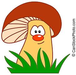 comic mushroom - mushroom with comic face