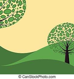Comic Nature Landscape Illustration
