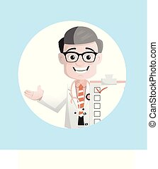 Comic Neurologist Showing Medical Report List Vector