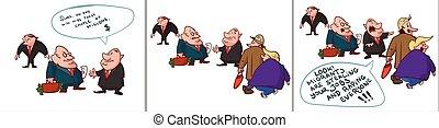 Comic of corrupt politicians, lying.