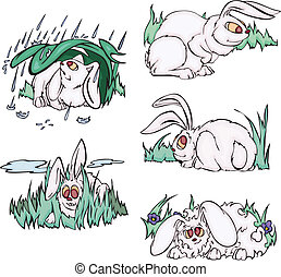 Comic pink rabbits