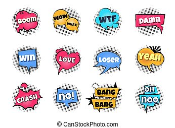 Comic pop art bubbles. Cartoon text balloon wow explosion sticker fun speech bubble comics retro cloud boom bubble. Vector splash bulb