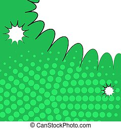 Comic pop art green background with halftone shadows and clouds beams. Vector mock-up of a typical comic book page. Illustration eps 10 template retro design