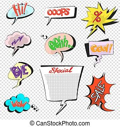 Comic pop art speech bubbles vector collection