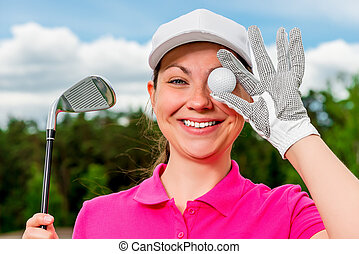 comic portrait of a beautiful girl with a ball and putter