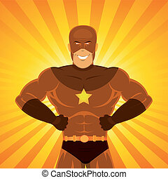 Illustration of a happy awesome powerful comic superhero with red disguise standing proudly with light explosion and sunbeams behind