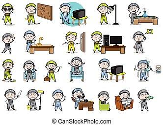 Comic Repairman - Set of Concepts Vector illustrations