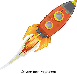 Illustration of a cartoon retro red iron spaceship blasting off and flying isolated on white