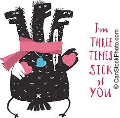 Comic Romantic Sad Sick Dragon in Love with Three Broken Hearts Slogan Print Design