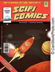 Comic Scifi Book Cover Template - Illustration of a cartoon...