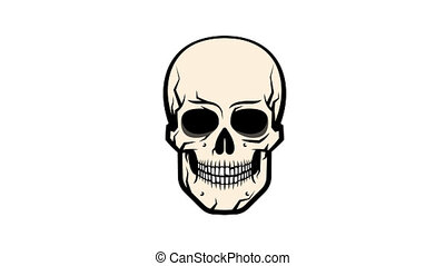 Comic skull in the style of comics laughs moving the lower...
