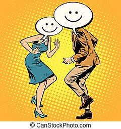 Comic smiley Emoji dancers man woman