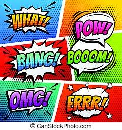 comic sound effect speech bubble pop art in vector cartoon style