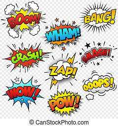 Comic Sound Effects - Collection of nine multicolored comic ...