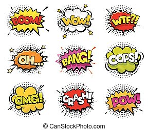 Comic sound effects in pop art vector style. Sound bubble...