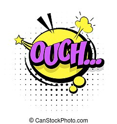 Comic sound effects pop art word Lettering Ouch