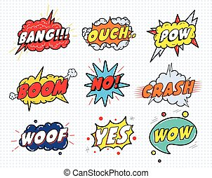 Comic sound speech effect bubbles set isolated on white ...