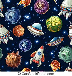 Comic space planets and spaceships. Vector seamless pattern