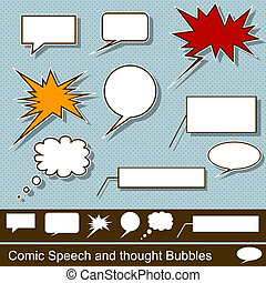 Comic speech and thought bubbles - Illustration of a comic...