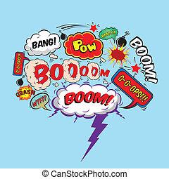 Comic speech bubble design element boom splash bomb symbol...