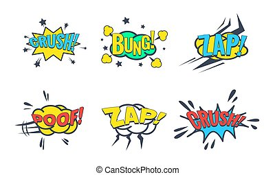 Comic Speech Bubble with Text Set, Comic Sound Effects, Bung, Crush, Zap, Poof Vector Illustration