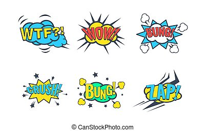 Comic Speech Bubble with Text Set, Comic Sound Effects, Wtf, Wow, Bung, Crush, Zap Vector Illustration