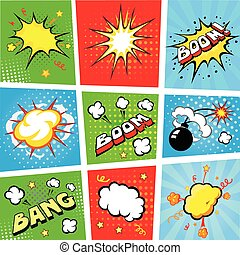 Comic speech bubbles and comic strip background vector ...